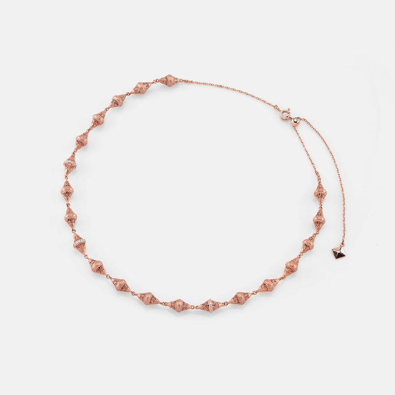Al Merriyah in 18k rosegold edition. Matte finish choker with diamonds - Al Zain Jewellery