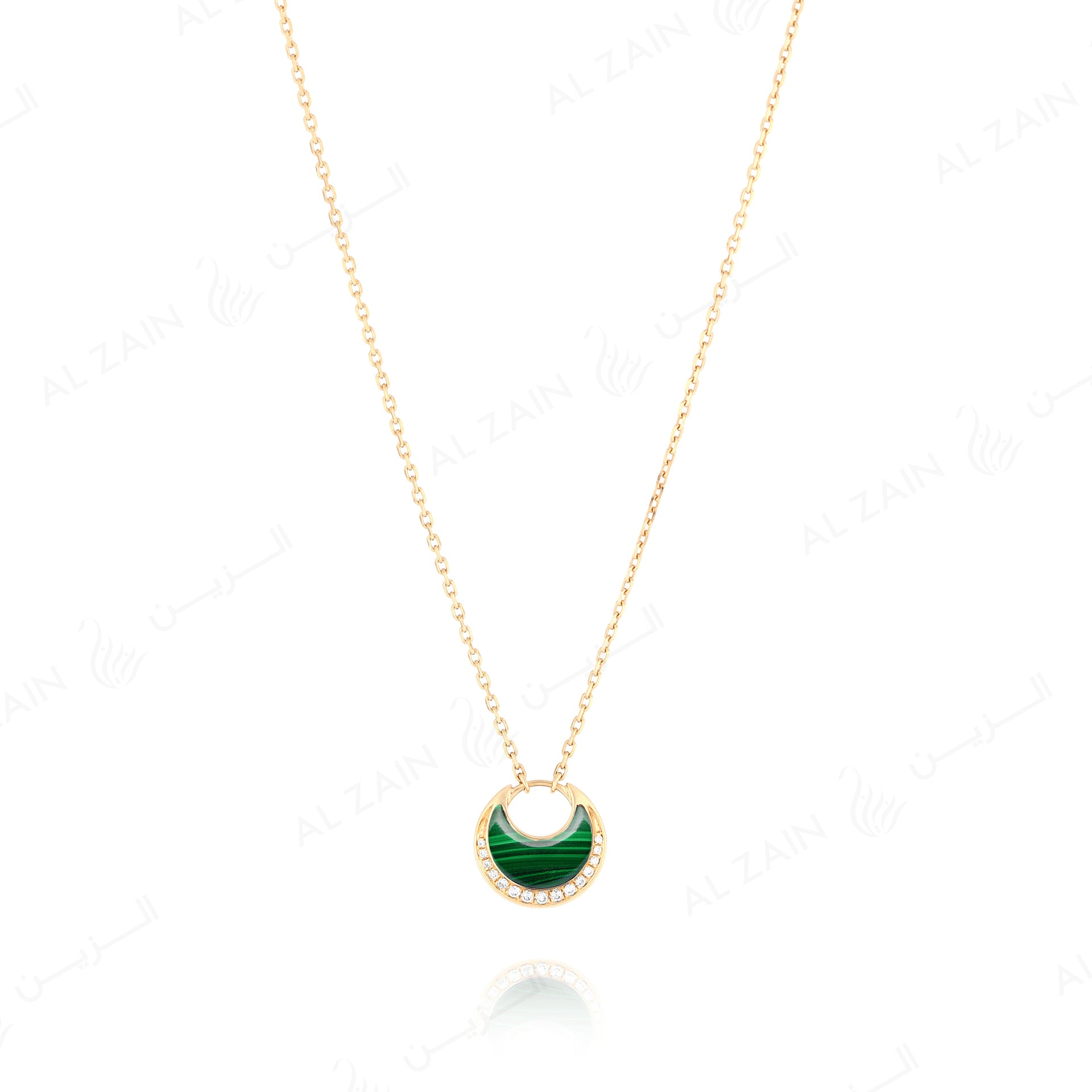 Al Hilal necklace in yellow gold with malachite stone and diamonds - Al Zain Jewellery