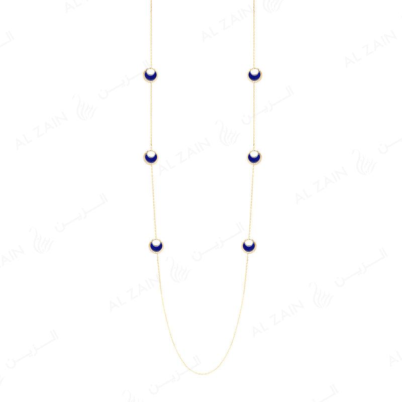 Al Hilal necklace in yellow gold with lapis stones and diamonds - Al Zain Jewellery