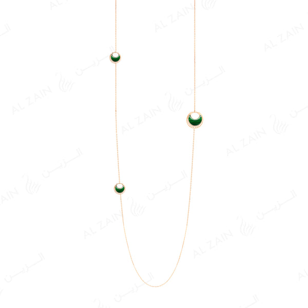 Al Hilal necklace in rose gold with malachite stones and diamonds - Al Zain Jewellery