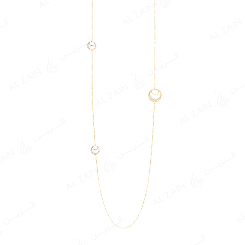 Al Hilal necklace in yellow gold with mother of pearl stones and diamonds - Al Zain Jewellery