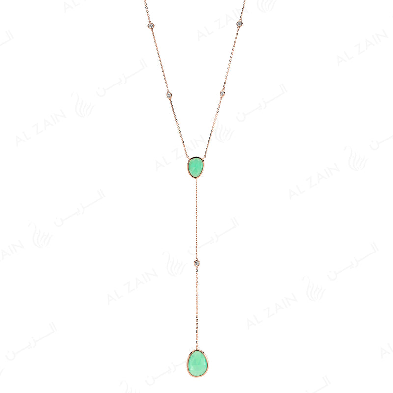 Simply Nina necklace in 18k rose gold with Chrysoprase stones and diamonds - Al Zain Jewellery