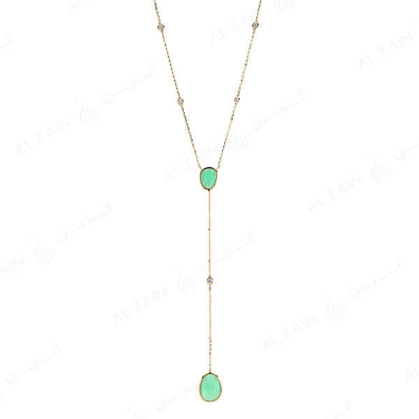 Simply Nina necklace in 18k yellow gold with Chrysoprase stones and diamonds - Al Zain Jewellery