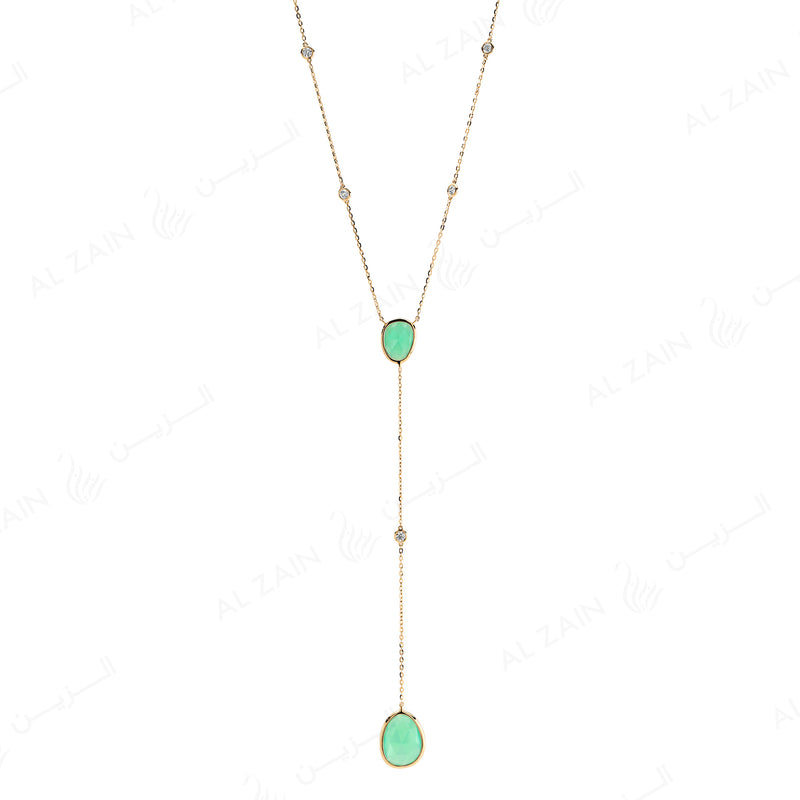 Simply Nina necklace in 18k yellow gold with Chrysoprase stones and diamonds
