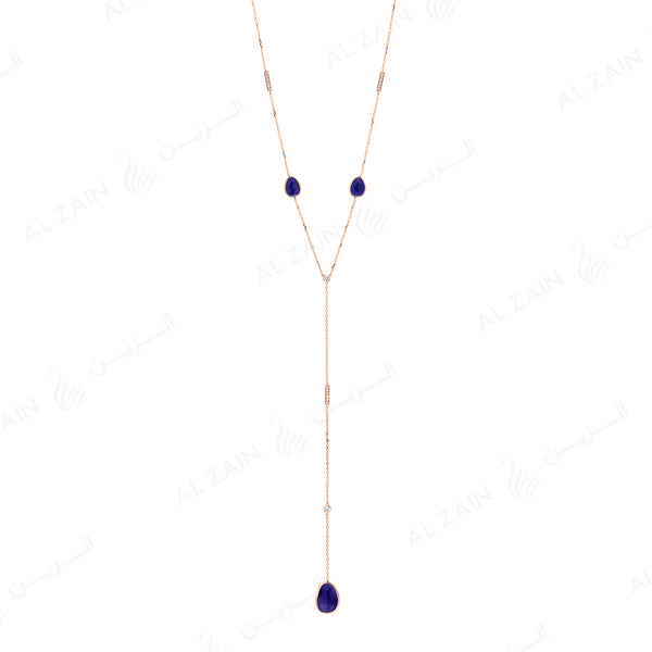 Precious Nina Necklace in 18k Rose Gold with Sapphire Stones and Diamonds