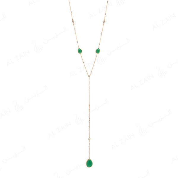 Precious Nina Necklace in 18k Yellow Gold with Emerald Stones and Diamonds