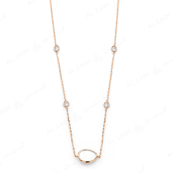 Simply Nina choker in 18k rose gold with Mother of Pearl stone and diamonds