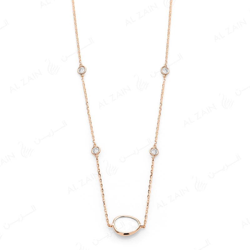 Simply Nina choker in 18k rose gold with Mother of Pearl stone and diamonds - Al Zain Jewellery