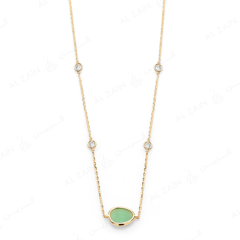 Simply Nina choker in 18k yellow gold with Chrysoprase stone and diamonds