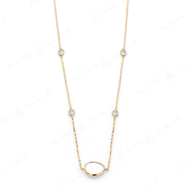 Simply Nina choker in 18k yellow gold with Mother of Pearl stone and diamonds