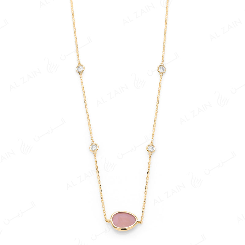 Simply Nina choker in 18k yellow gold with Opal stone and diamonds