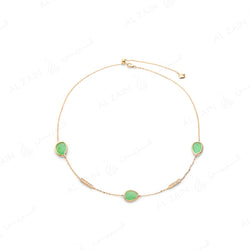 Simply Nina choker in 18k yellow gold with Chrysoprase stones and diamonds