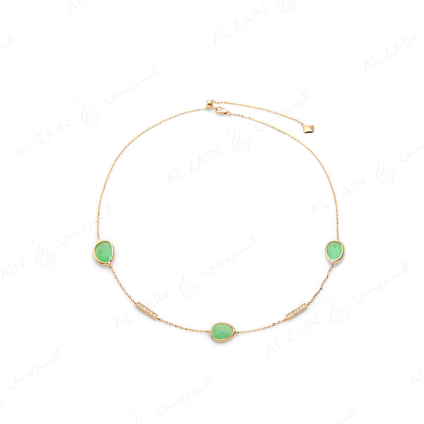 Simply Nina choker in 18k yellow gold with Chrysoprase stones and diamonds - Al Zain Jewellery