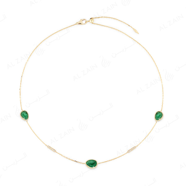 Precious Nina Choker in 18k yellow gold with Emerald stones and diamonds