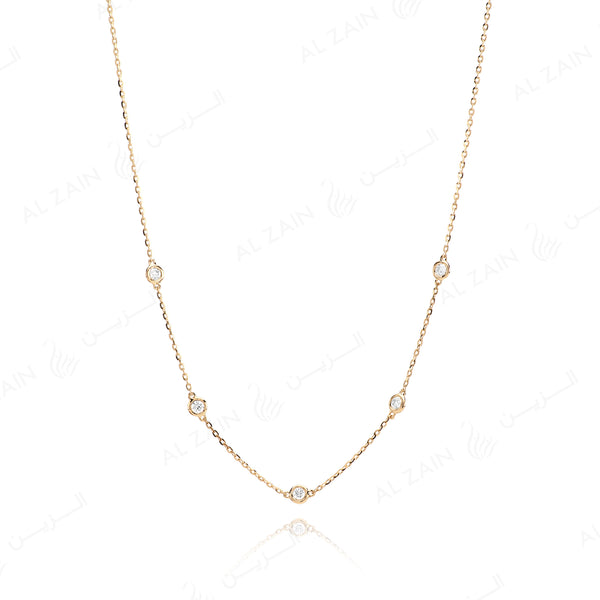 Al-Nada necklace in yellow gold with diamonds - Al Zain Jewellery