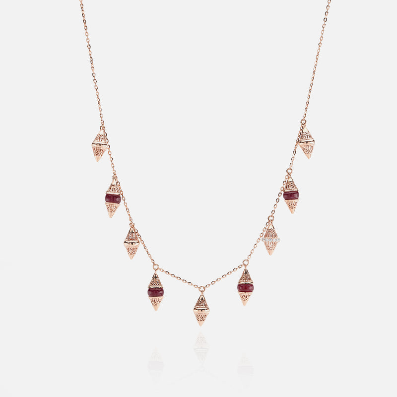 Al Merriyah mood colour necklace in 18k rose gold with ruby and diamonds