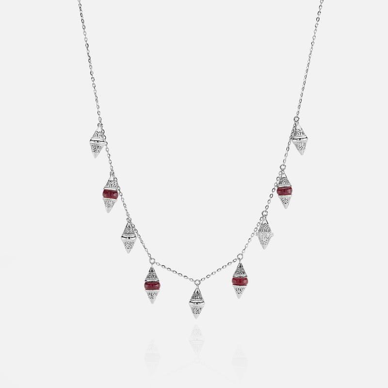 Al Merriyah mood colour necklace in 18k white gold with ruby and diamonds