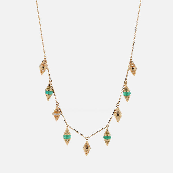 Al Merriyah mood colour choker in 18k yellow gold with emerald and diamonds - Al Zain Jewellery