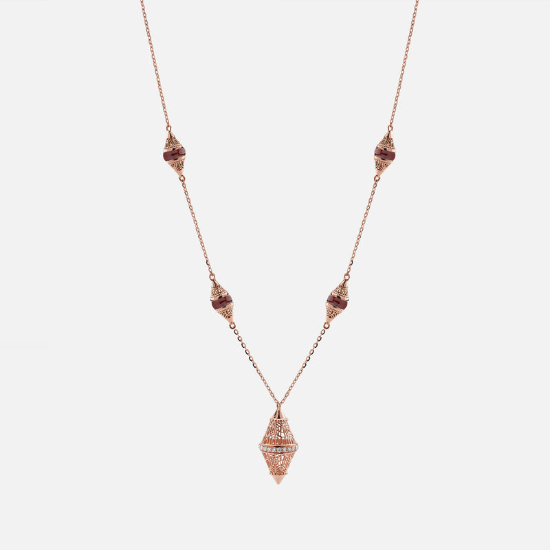 Al Merriyah mood colour necklace in 18k rose gold with ruby and diamonds - Al Zain Jewellery