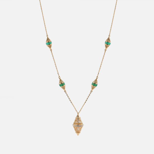 Al Merriyah mood colour necklace in 18k yellow gold with emerald and diamonds - Al Zain Jewellery