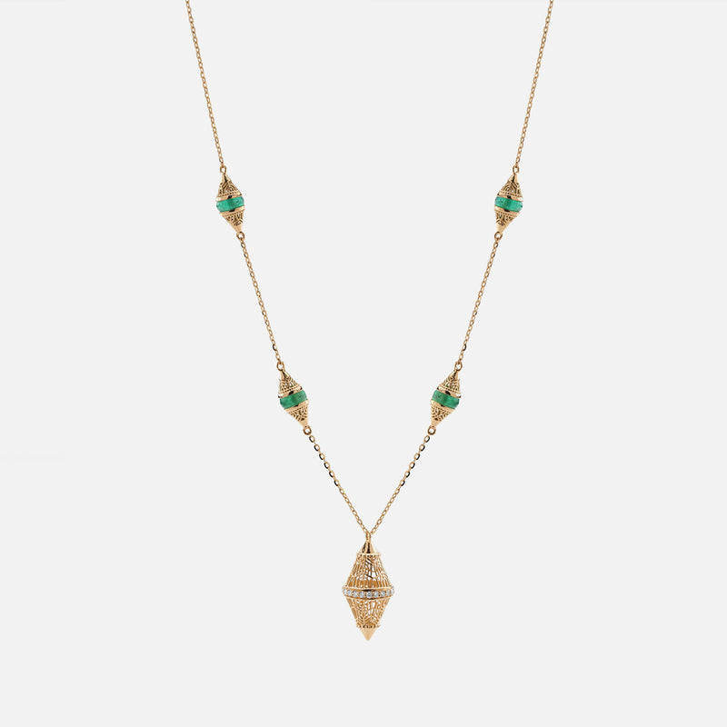 Al Merriyah mood colour necklace in 18k yellow gold with emerald and diamonds