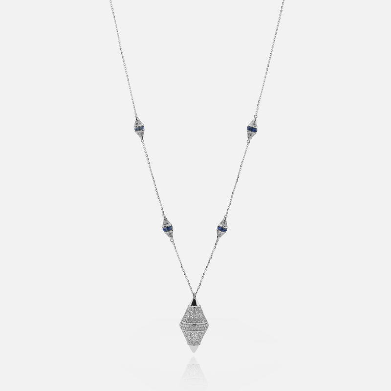 Al Merriyah mood colour necklace in 18k white gold with sapphire and diamonds