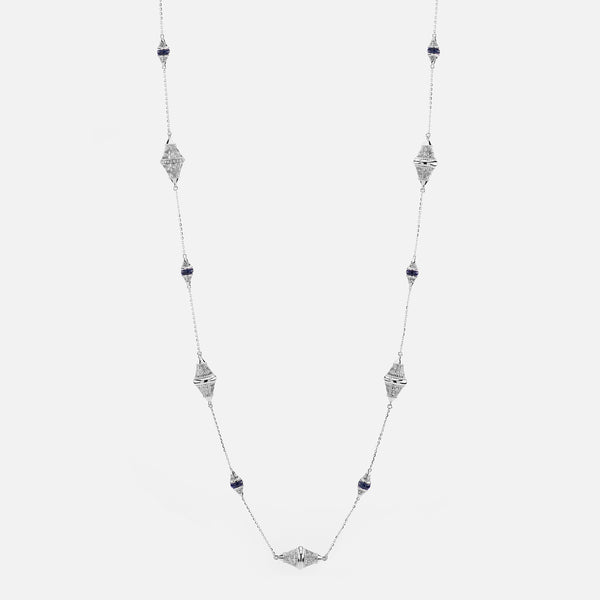 Al Merriyah mood colour necklace in 18k white gold with sapphire and diamonds - Al Zain Jewellery