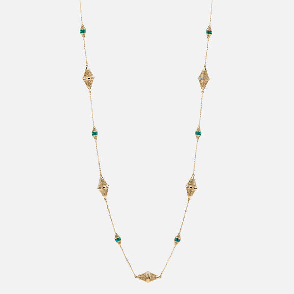 Al Merriyah mood colour necklace in yellow gold with emerald stones and diamonds