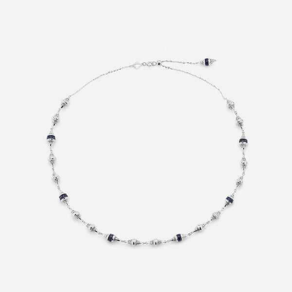 Al Merriyah mood colour choker in white gold with sapphire stones and diamonds