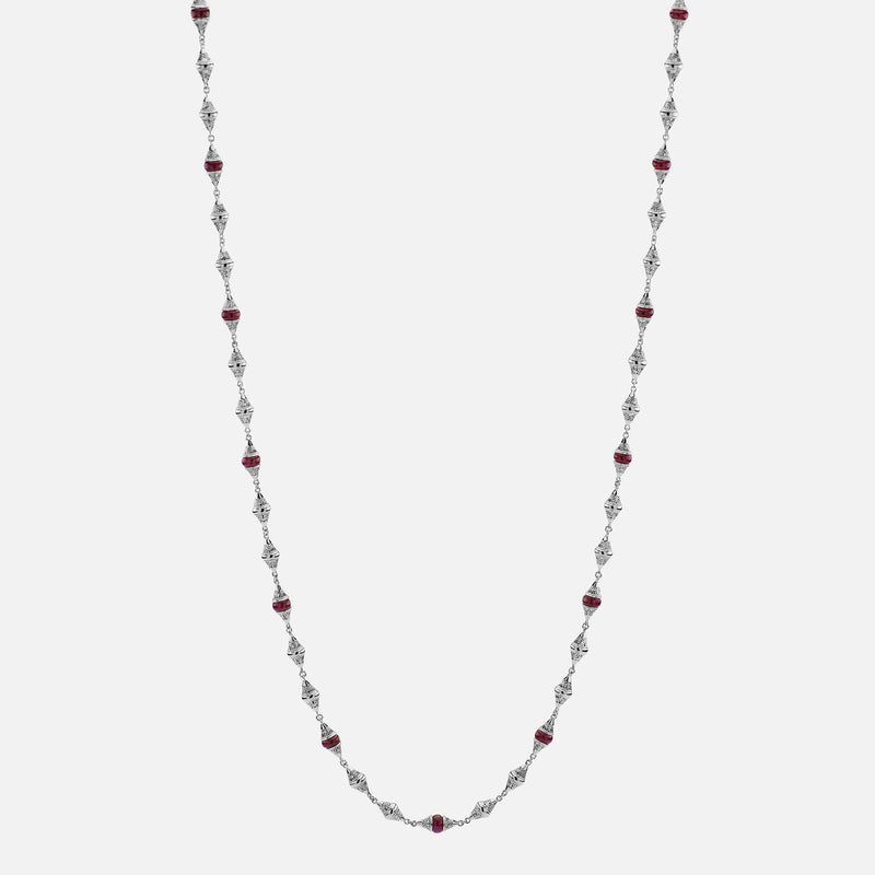 Al Merriyah mood colour necklace in 18k white gold with ruby and diamonds - Al Zain Jewellery