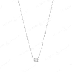 18k White gold pendant in emerald cut illusion set diamonds - Al Zain Jewellery