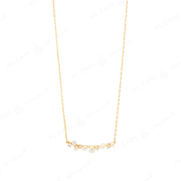 Mystique necklace with pearl and  diamonds in yellow gold - Al Zain Jewellery