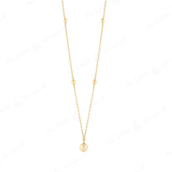 Kids gold ball necklace in yellow gold with diamond