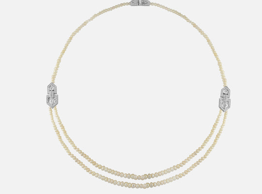 Arab deco necklace in white gold and white pearls with diamonds - Al Zain Jewellery