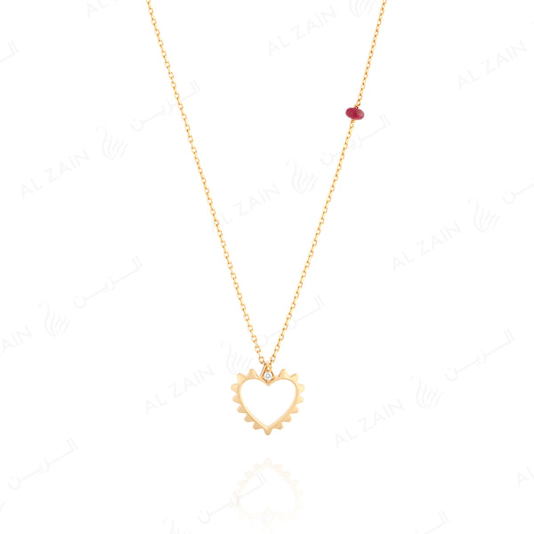 18k gold necklace with diamond and ruby stone