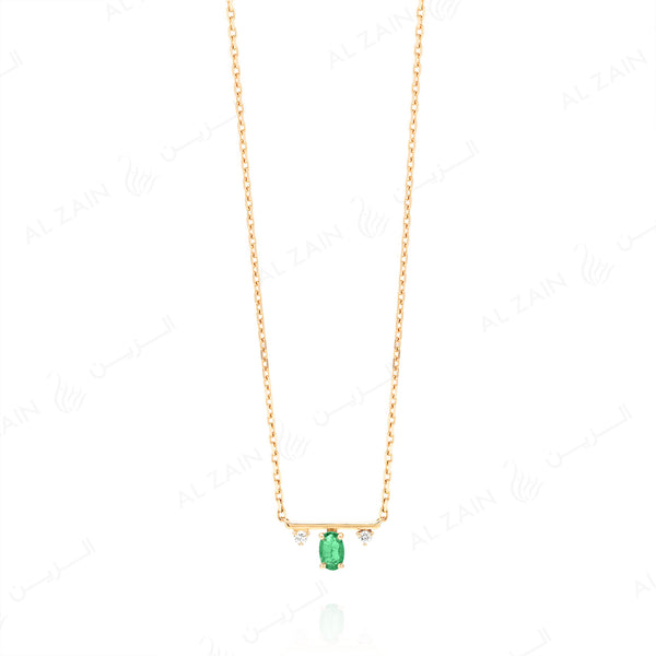 Mystique necklace in yellow gold with diamonds and emerald stone