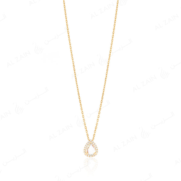 Rose cut diamond necklace in yellow gold