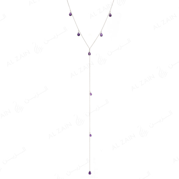 Nina Necklace in White Gold with Amethyst Stone - Al Zain Jewellery