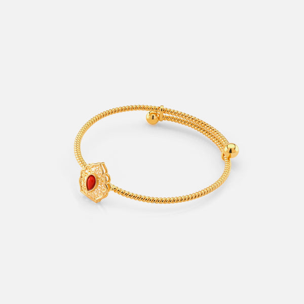 21k kids bangle with coral stones - Al Zain Jewellery