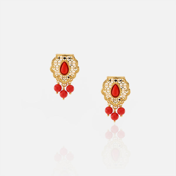 21k kids earrings with coral stones