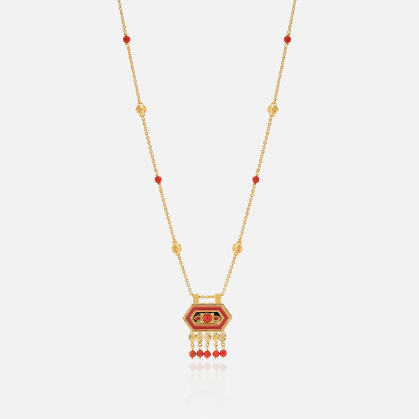21k kids necklace with coral stones