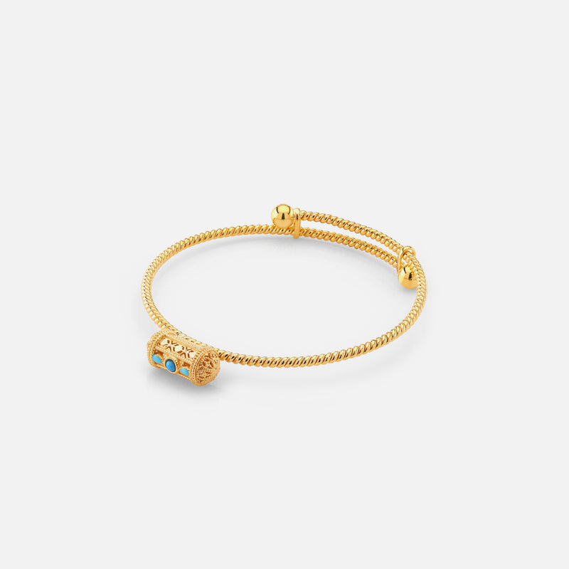 21k kids bangle with turquoise stones - Al Zain Jewellery