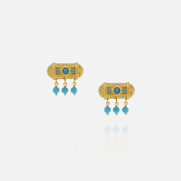 21k kids earrings with turquoise stones