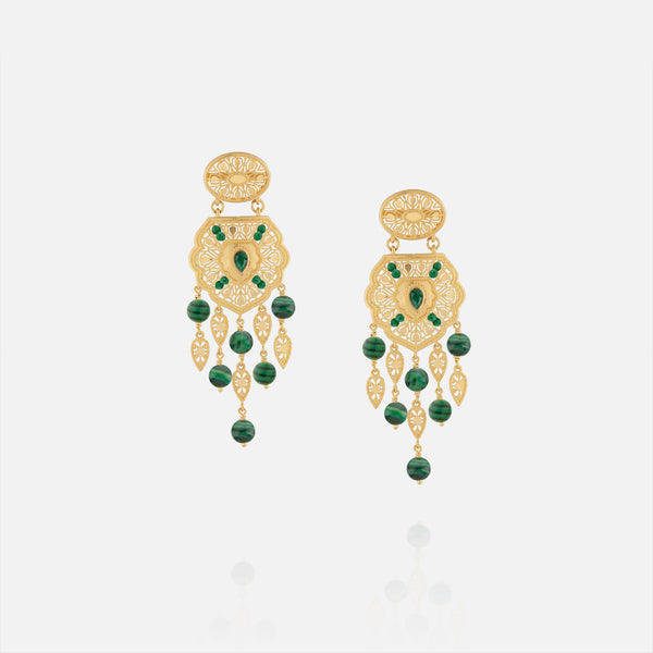 21k Muarra earrings with malachite stones