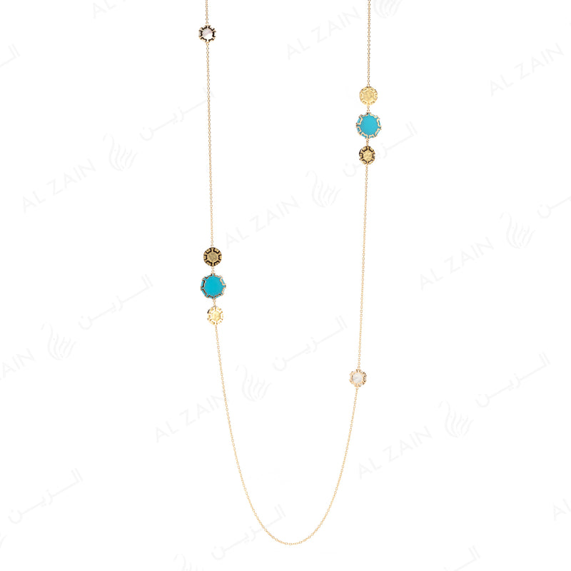 Cordoba Necklace in Yellow Gold with Turquoise & Mother of Pearl - Al Zain Jewellery