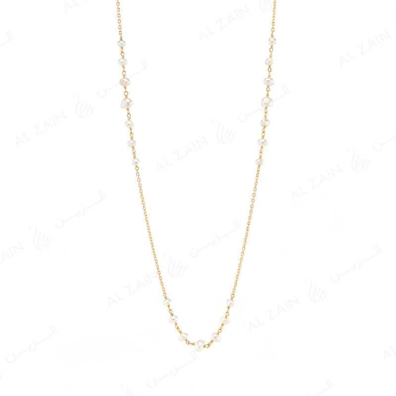Natural Pearl Necklace in Yellow Gold - Al Zain Jewellery