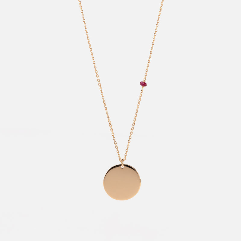 Tag Necklace in Yellow Gold with a Ruby Stone - Al Zain Jewellery