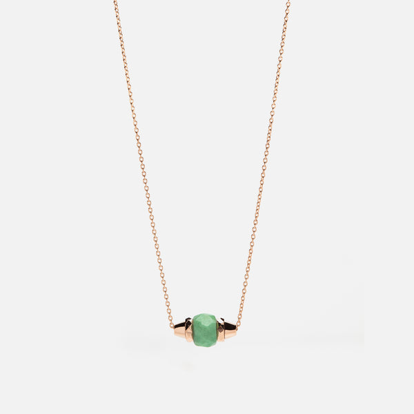 Ruby & Friends Necklace in Rose Gold with Jade