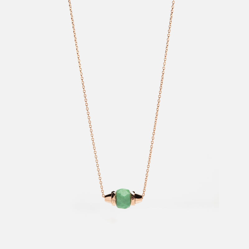 Ruby & Friends Necklace in Rose Gold with Jade - Al Zain Jewellery