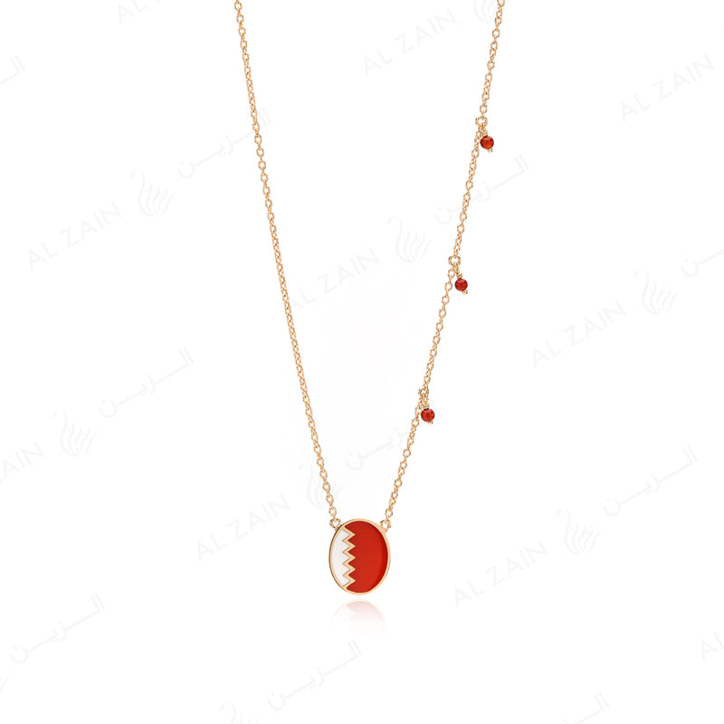 Bahrain necklace in Yellow Gold with red agate - Al Zain Jewellery
